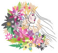 Vector image beautiful woman floral hair style Royalty Free Stock Photo