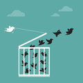 Vector image of a bird in the cage and outside the cage freedom concept Stock Photography