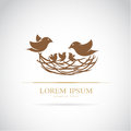 Vector image of an birds family in love Royalty Free Stock Photo