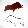 Vector image of an bison on a white background Royalty Free Stock Photography