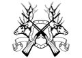 Vector image board crossed guns and elk heads Stock Image