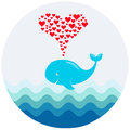 A vector image of a cute cartoon whale with hearts fountain. Illustration for greeting, baby shower or invitation card