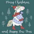 Vector image of a cute unicorn in a hat, scarf and boots with a bag of gifts. Greeting card with the inscription Merry Christmas a