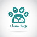 Vector image of an dog head design and spoor Royalty Free Stock Photo