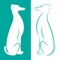 Vector image of an dog on white and cerulean background Stock Photo