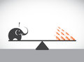Vector image of an elephant and ant weighing concept Royalty Free Stock Image