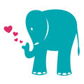 Vector image elephant heart white background Royalty Free Stock Images