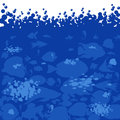 Vector image of fish on white blue background and dark sea fishes sea horses with bubbles Stock Photography