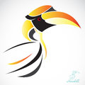 Vector image of an hornbill on a white background Stock Photos