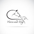 Vector image of horse and dog