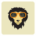 Vector image of lion wearing glasses.