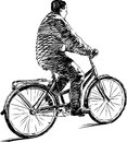 The vector image of the man riding by bicycle Royalty Free Stock Image