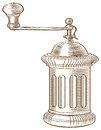 Vector image old fashioned coffee grinder was drawn using engraving style Royalty Free Stock Photography