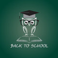 Vector image of an owl glasses with college hat and book Royalty Free Stock Image