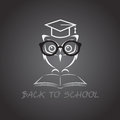 Vector image of an owl glasses with college hat and book Royalty Free Stock Images