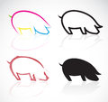Vector image of an pigs on white background Royalty Free Stock Photo