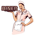 Vector image retro diner waitress Royalty Free Stock Photo