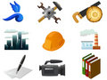 Vector image. Set of industrial and other icons. Royalty Free Stock Image