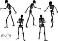 Vector Image - skeleton silhouette in shuffle pose  on white background Royalty Free Stock Photo