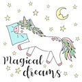 stock image of  Vector image of a sleeping unicorn on a pillow with stars and the moon and the inscription of magical dreams. Concept of sleep, ho