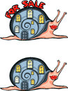 Vector image of a snail with a house