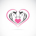 Vector image of two horses on a heart shape Royalty Free Stock Photo