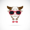 Vector images of bull wearing sunglasses