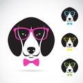Vector images of dog beagle wearing glasses