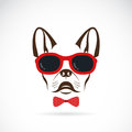 Vector images of dog (bulldog) wearing sunglasses