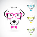 Vector images of dog labrador wearing glasses