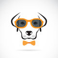 Vector images of dog labrador wearing sunglasses on white background Royalty Free Stock Image