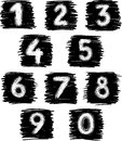 Vector images of a hand drawn numbers Stock Image