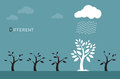 Vector images of trees, clouds and rain.