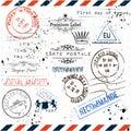 Vector imitation of vintage post stamps Paris, voyage travel voc