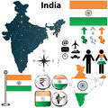 Vector india set detailed country shape regions borders flags icons Stock Images