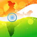 Vector indian map with flag design Royalty Free Stock Photography