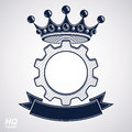 Vector industrial design element, cog wheel with a coronet and b Royalty Free Stock Photo