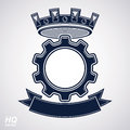 Vector industrial design element, cog wheel with a coronet and black decorative curvy ribbon. High quality manufacturing gear icon Royalty Free Stock Photo