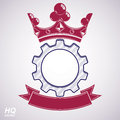 Vector industrial design element, cog wheel with crown Royalty Free Stock Photo