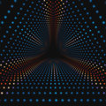 Vector infinite triangular tunnel of colorful circles on dark background. Spheres form tunnel sectors. Royalty Free Stock Photo