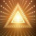 Vector infinite triangular tunnel of shining flares on orange background. Glowing points form tunnel sectors. Royalty Free Stock Photo