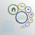 Vector infographic background design with different icons Stock Image