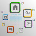 Vector infographic background design with different icons Royalty Free Stock Image