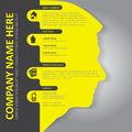 Vector infographic background with head silhouette of contact icons and a place for text content can be used for brochures posters Stock Image