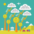 Vector infographic concept with clouds lightings and trees for presentation booklet website etc Stock Photography
