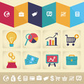 Vector infographic design element in flat style icons and retro finance and business illustration Royalty Free Stock Photo