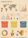 Vector infographic elements. Retro style Stock Photo