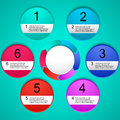Vector infographic template with 6 options for presentation, chart, business concept