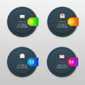 Vector infographics template with four options in material design style. It can be used as a chart, numbered banner