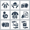 Vector insurance icons set family home auto life deposit policy Royalty Free Stock Photography